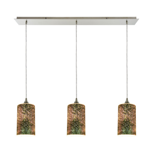 ELK Lighting 10508/3LP Illusions 3-Light Linear Mini Pendant Fixture in Satin Nickel with 3-D Starburst Glass