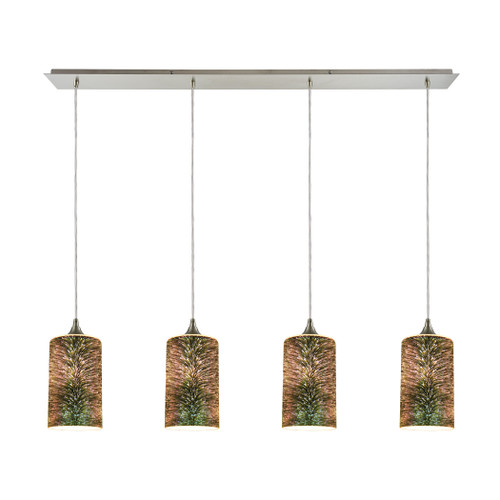 ELK Lighting 10508/4LP Illusions 4-Light Linear Pendant Fixture in Satin Nickel with 3-D Starburst Glass