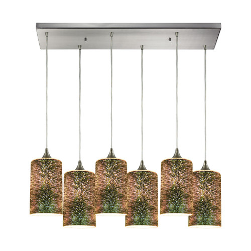 ELK Lighting 10508/6RC Illusions 6-Light Rectangular Pendant Fixture in Satin Nickel with 3-D Starburst Glass