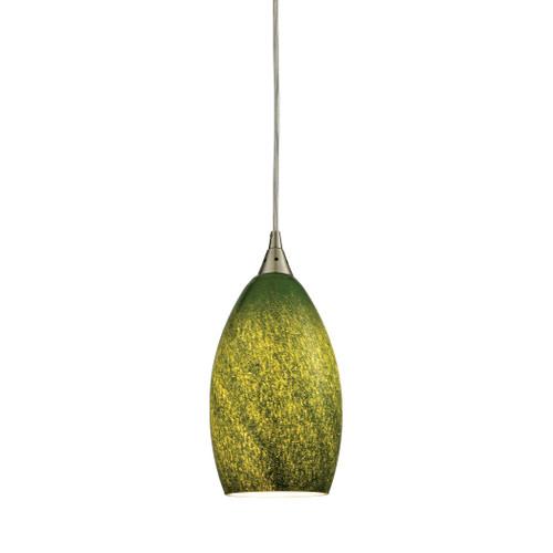 ELK Lighting 10510/1GRS Earth 1-Light Mini Pendant in Satin Nickel with Sunlit Grass Green Glass