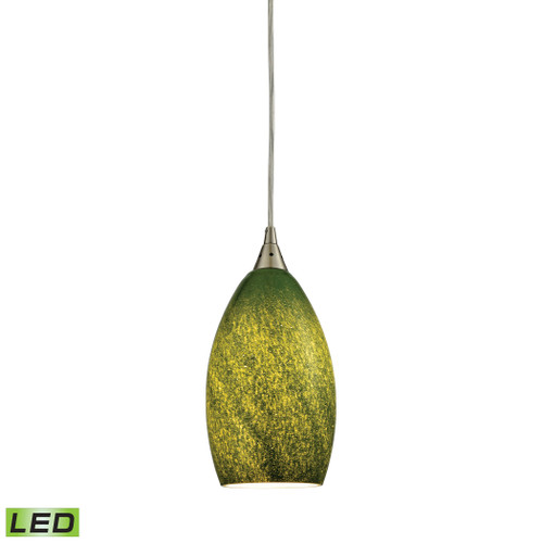 ELK Lighting 10510/1GRS-LED Earth 1-Light Mini Pendant in Satin Nickel with Sunlit Grass Green Glass - Includes LED Bulb