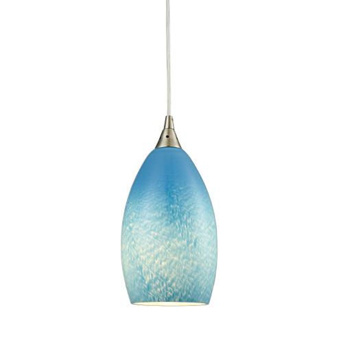 ELK Lighting 10510/1SKY Earth 1-Light Mini Pendant in Satin Nickel with Wispy Cloud Sky Blue Glass