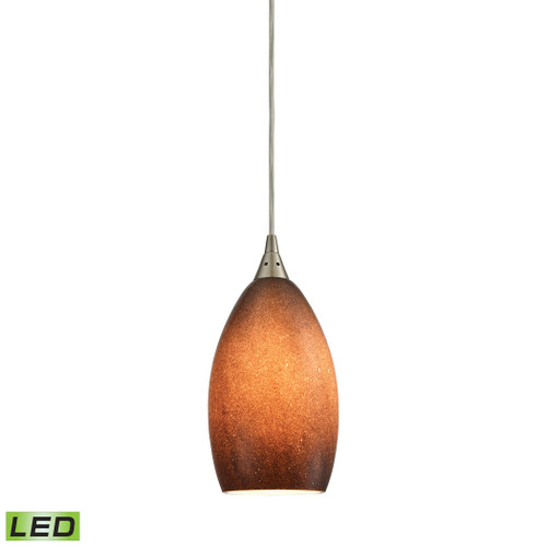 ELK Lighting 10510/1SND-LED Earth 1-Light Mini Pendant in Satin Nickel with Textured Sand Glass - Includes LED Bulb