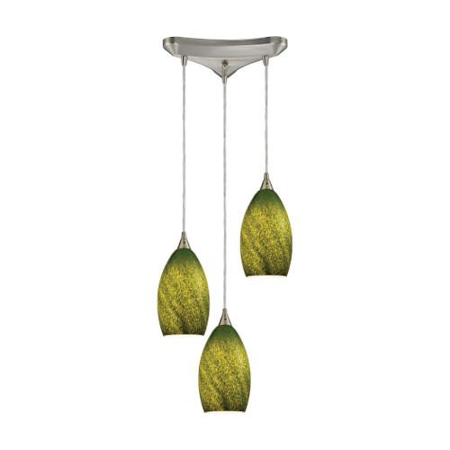 ELK Lighting 10510/3GRS Earth 3-Light Triangular Pendant Fixture in Satin Nickel with Sunlit Grass Green Glass