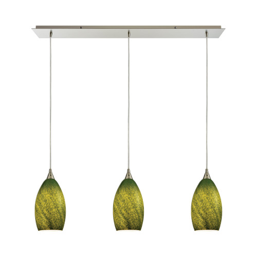 ELK Lighting 10510/3LP-GRS Earth 3-Light Linear Mini Pendant Fixture in Satin Nickel with Sunlit Grass Green Glass