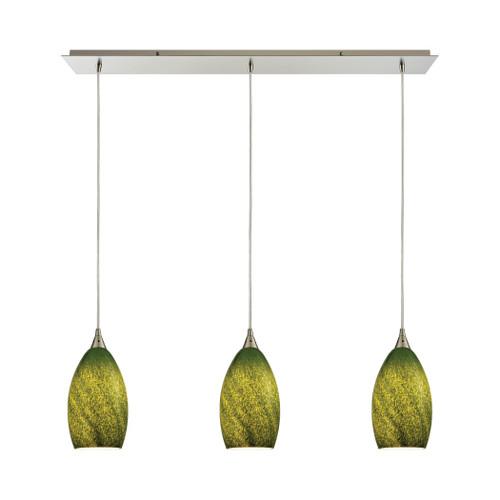 ELK Lighting 10510/3LP-GRS Earth 3-Light Linear Mini Pendant Fixture in Satin Nickel with Sunlit Grass Green Glass