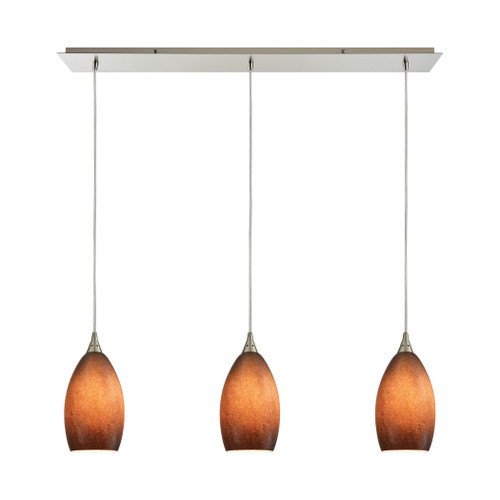ELK Lighting 10510/3LP-SND Earth 3-Light Linear Mini Pendant Fixture in Satin Nickel with Textured Sand Glass