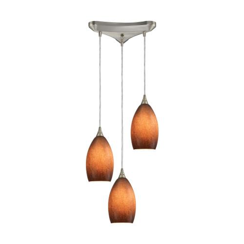 ELK Lighting 10510/3SND Earth 3-Light Triangular Pendant Fixture in Satin Nickel with Textured Sand Glass
