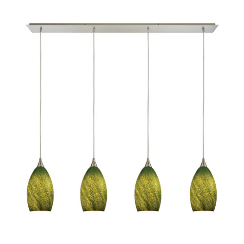 ELK Lighting 10510/4LP-GRS Earth 4-Light Linear Pendant Fixture in Satin Nickel with Sunlit Grass Green Glass