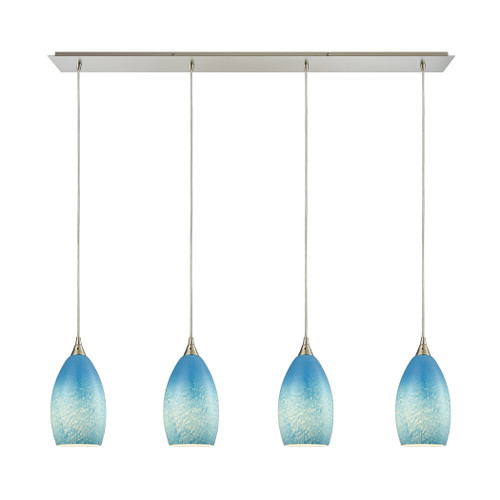 ELK Lighting 10510/4LP-SKY Earth 4-Light Linear Pendant Fixture in Satin Nickel with Wispy Cloud Sky Blue Glass