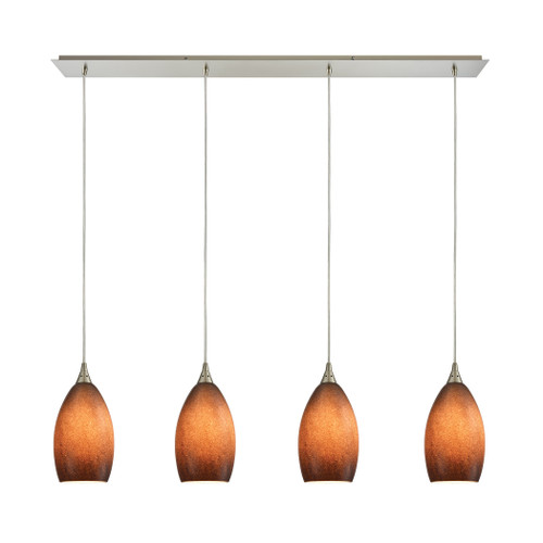 ELK Lighting 10510/4LP-SND Earth 4-Light Linear Pendant Fixture in Satin Nickel with Textured Sand Glass