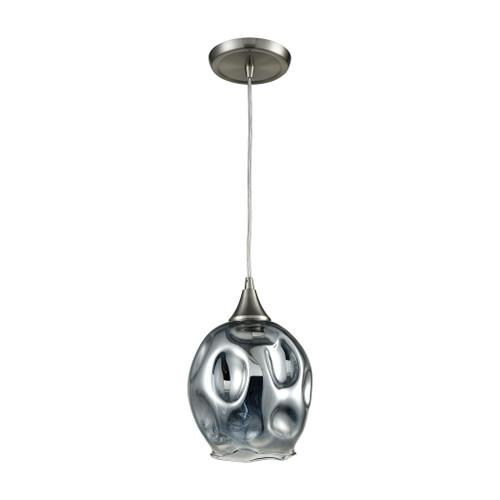 ELK Lighting 10512/1 Morph 1-Light Mini Pendant in Satin Nickel with Chrome-plated Blown Glass