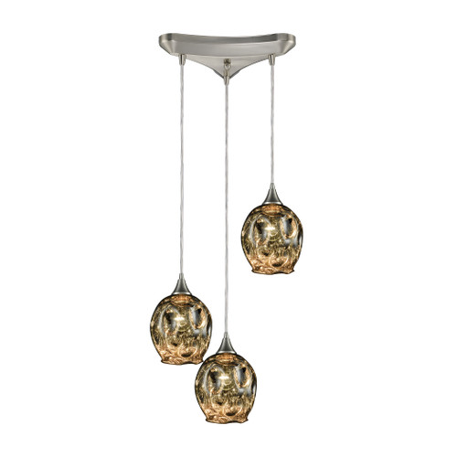 ELK Lighting 10512/3 Morph 3-Light Triangular Pendant Fixture in Satin Nickel with Chrome-plated Blown Glass