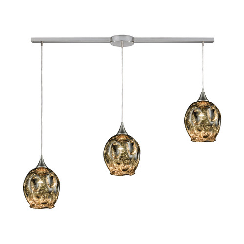 ELK Lighting 10512/3L Morph 3-Light Linear Mini Pendant Fixture in Satin Nickel with Chrome-plated Blown Glass
