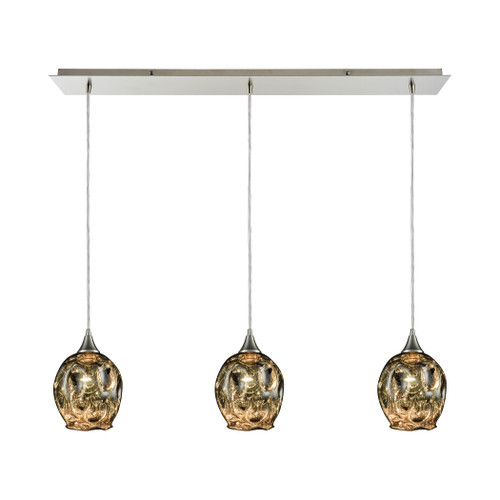 ELK Lighting 10512/3LP Morph 3-Light Linear Mini Pendant Fixture in Satin Nickel with Chrome-plated Blown Glass