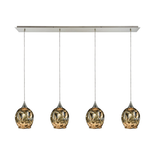 ELK Lighting 10512/4LP Morph 4-Light Linear Pendant Fixture in Satin Nickel with Chrome-plated Blown Glass