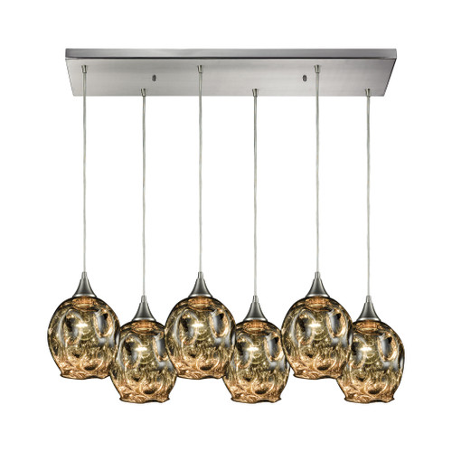 ELK Lighting 10512/6RC Morph 6-Light Rectangular Pendant Fixture in Satin Nickel with Chrome-plated Blown Glass