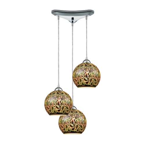ELK Lighting 10518/3 Illusions 3-Light Triangular Pendant Fixture in Polished Chrome with 3-D Graffiti Glass