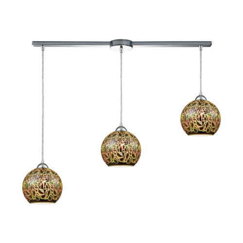 ELK Lighting 10518/3L Illusions 3-Light Linear Mini Pendant Fixture in Polished Chrome with 3-D Graffiti Glass