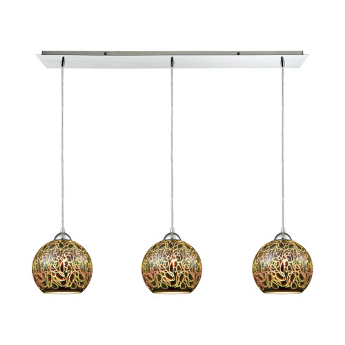 ELK Lighting 10518/3LP Illusions 3-Light Linear Mini Pendant Fixture in Polished Chrome with 3-D Graffiti Glass