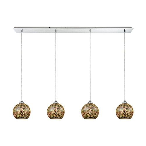 ELK Lighting 10518/4LP Illusions 4-Light Linear Pendant Fixture in Polished Chrome with 3-D Graffiti Glass