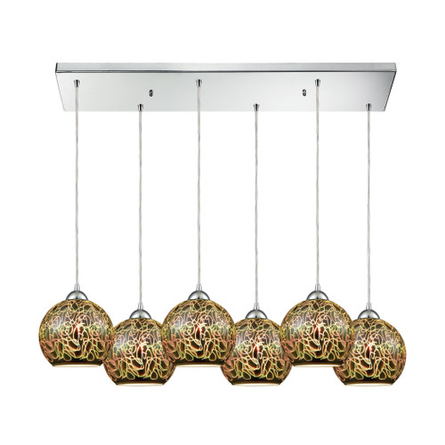 ELK Lighting 10518/6RC Illusions 6-Light Rectangular Pendant Fixture in Polished Chrome with 3-D Graffiti Glass