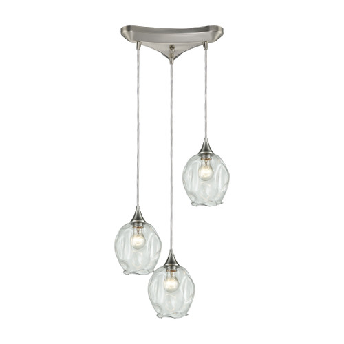 ELK Lighting 10522/3 Morph 3-Light Triangular Pendant Fixture in Satin Nickel with Clear Blown Glass