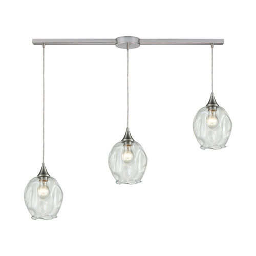 ELK Lighting 10522/3L Morph 3-Light Linear Mini Pendant Fixture in Satin Nickel with Clear Blown Glass