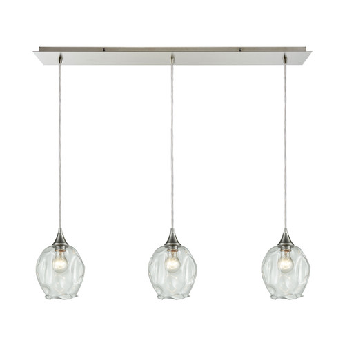 ELK Lighting 10522/3LP Morph 3-Light Linear Mini Pendant Fixture in Satin Nickel with Clear Blown Glass