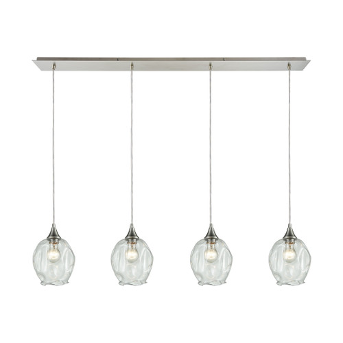 ELK Lighting 10522/4LP Morph 4-Light Linear Pendant Fixture in Satin Nickel with Clear Blown Glass