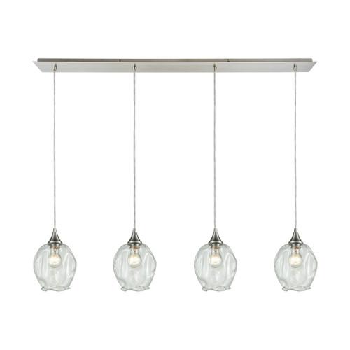 ELK Lighting 10522/4LP Morph 4-Light Linear Pendant Fixture in Satin Nickel with Clear Blown Glass