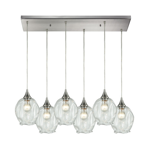ELK Lighting 10522/6RC Morph 6-Light Rectangular Pendant Fixture in Satin Nickel with Clear Blown Glass