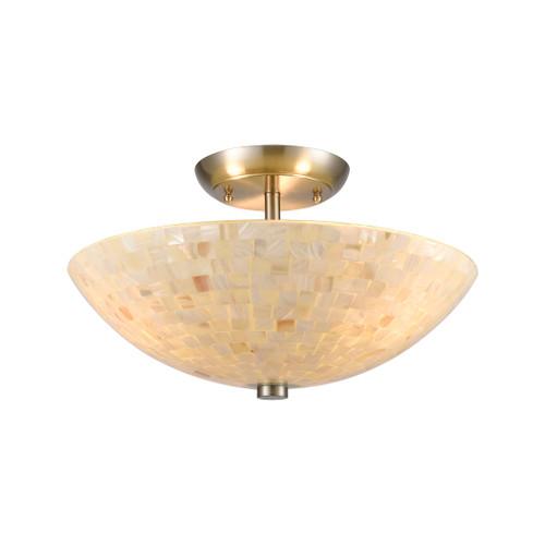 ELK Lighting 10541/3 Capri 3-Light Semi Flush Mount in Satin Nickel with Glass/Capiz Shells