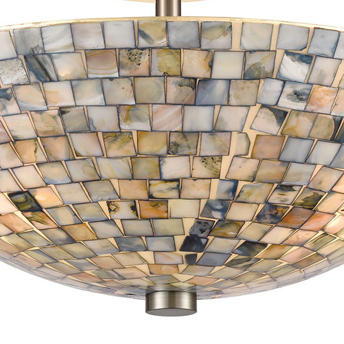 ELK Lighting 10551/3 Capri 3-Light Semi Flush Mount in Satin Nickel with Glass/Gray Capiz Shells