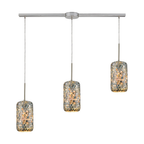ELK Lighting 10552/3L Capri 3-Light Linear Mini Pendant Fixture in Satin Nickel with Glass/Gray Capiz Shells