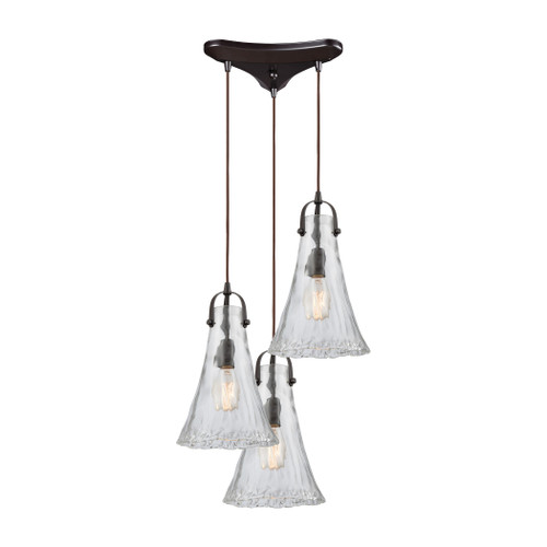 ELK Lighting 10555/3 Hand Formed Glass 3-Light Triangular Pendant Fixture in Oiled Bronze with Clear Hand-formed Glass