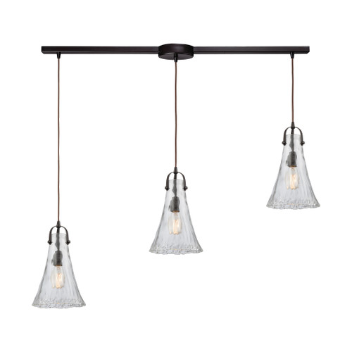 ELK Lighting 10555/3L Hand Formed Glass 3-Light Linear Mini Pendant Fixture in Oiled Bronze with Clear Hand-formed Glass