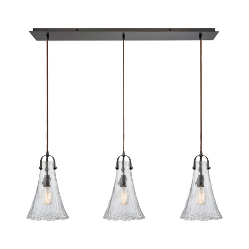 ELK Lighting 10555/3LP Hand Formed Glass 3-Light Linear Mini Pendant Fixture in Oiled Bronze with Clear Hand-formed Glass