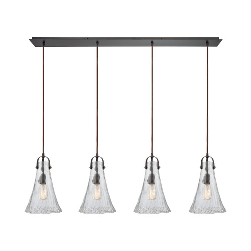 ELK Lighting 10555/4LP Hand Formed Glass 4-Light Linear Pendant Fixture in Oiled Bronze with Clear Hand-formed Glass