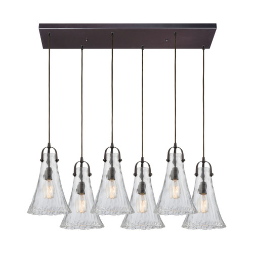ELK Lighting 10555/6RC Hand Formed Glass 6-Light Rectangular Pendant Fixture in Oiled Bronze with Clear Hand-formed Glass