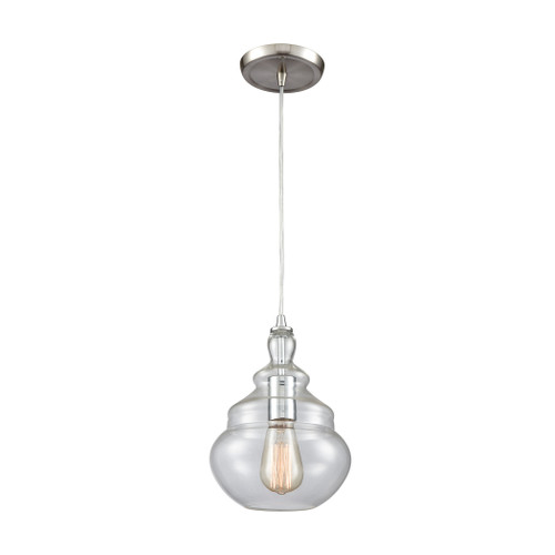 ELK Lighting 10562/1 Tabor 1-Light Mini Pendant in Polished Chrome with Clear Glass