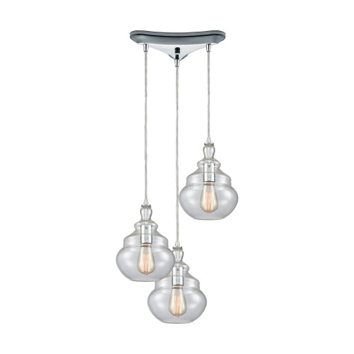 ELK Lighting 10562/3 Tabor 3-Light Triangular Pendant Fixture in Polished Chrome with Clear Glass