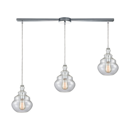 ELK Lighting 10562/3L Tabor 3-Light Linear Mini Pendant Fixture in Polished Chrome with Clear Glass
