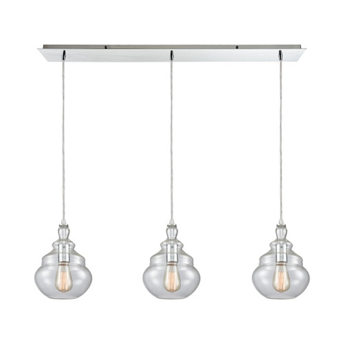 ELK Lighting 10562/3LP Tabor 3-Light Linear Mini Pendant Fixture in Polished Chrome with Clear Glass