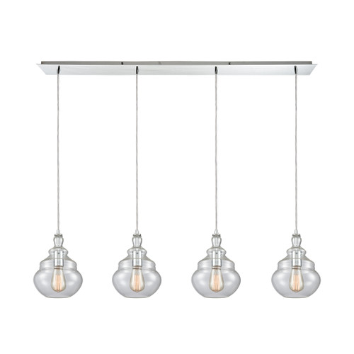 ELK Lighting 10562/4LP Tabor 4-Light Linear Pendant Fixture in Polished Chrome with Clear Glass