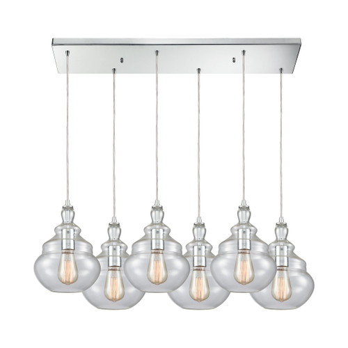 ELK Lighting 10562/6RC Tabor 6-Light Rectangular Pendant Fixture in Polished Chrome with Clear Glass