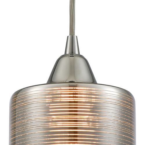 ELK Lighting 10565/1 Plated Rings 1-Light Mini Pendant in Polished Chrome with Chrome-plated Rings Glass