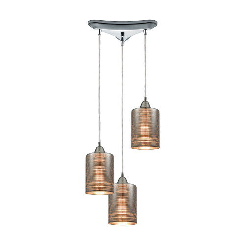 ELK Lighting 10565/3 Plated Rings 3-Light Triangular Pendant Fixture in Polished Chrome with Chrome-plated Rings Glass
