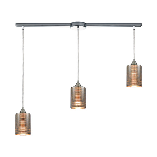 ELK Lighting 10565/3L Plated Rings 3-Light Linear Mini Pendant Fixture in Polished Chrome with Chrome-plated Rings Glass