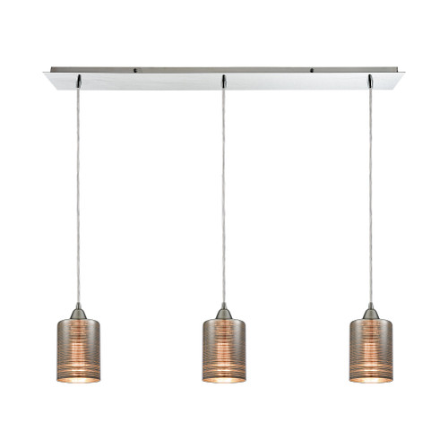 ELK Lighting 10565/3LP Plated Rings 3-Light Linear Mini Pendant Fixture in Polished Chrome with Chrome-plated Rings Glass